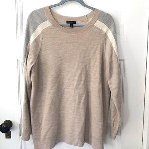 J Crew Tan Arm Stripe Merino Wool Pullover Sweater